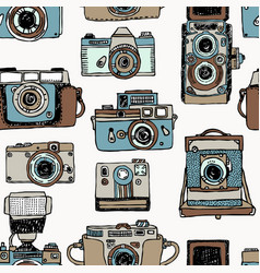 seamless pattern with old fashioned cameras vector image vector image