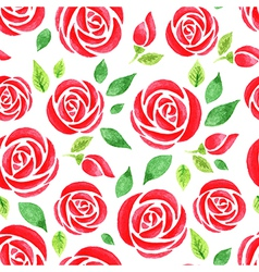 seamless pattern with red watercolor rose vector image vector image