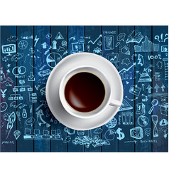 Coffee cup concept - business doodle with coffe vector