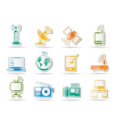 communication and technology icons vector image vector image