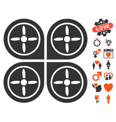 quadrocopter icon with dating bonus vector image