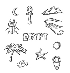 sketch collection of Egyptian symbols vector image vector image