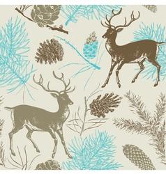 Vintage deer forest pattern vector