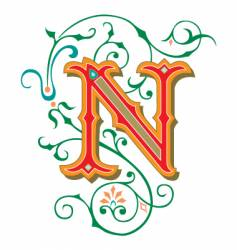 floral letter n vector image
