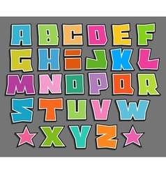 Graffiti floating color fonts alphabet over gray vector