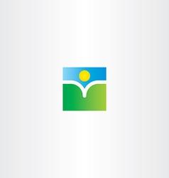 natural book and sun landscape logo vector image