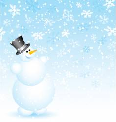 snowman on snowy background vector image vector image
