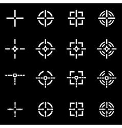 white crosshair icon set vector image vector image