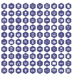 100 network icons hexagon purple vector image