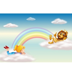 A girl and a king lion across the rainbow vector image