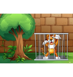 A tiger in cage made of steel vector