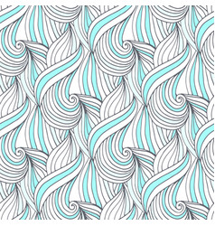 Abstract blue waves seamless pattern doodle vector