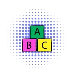 Baby cubes comics icon vector