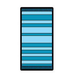 Beach towel with stripes top view isolated on vector