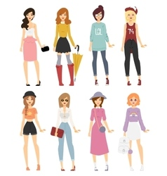 Beautiful cartoon fashion girl models look vector