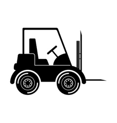 Black silhouette forklift truck with forks vector