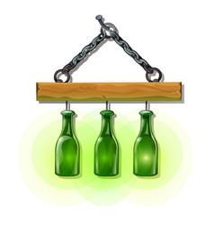 Bottles lanterns on hanger luminous objects vector
