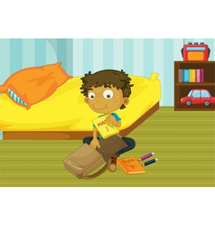 Boy packing his bag vector image