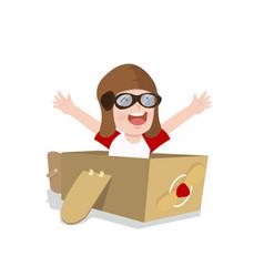 Boy play toy plane cardboard vector