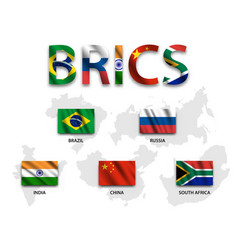 Brics association of 5 countries brazil vector