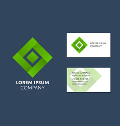 Business card template with green square logo vector