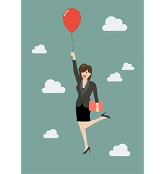 Business woman flying with red balloon vector