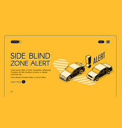 Car blind spot monitoring assist website vector