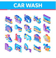Car wash auto service isometric icons set vector