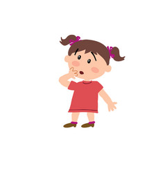 Cartoon character girl in surprise vector