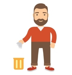 Cartoon man throwing garbage in bin vector image