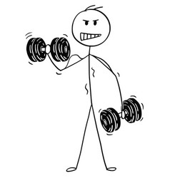 Cartoon of muscular man lifting two dumbbells vector