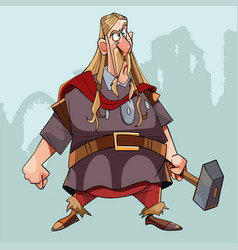 Cartoon surprised man in medieval clothes with a vector