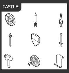 castle outline isometric icons vector image