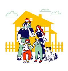 child adoption concept big happy family of vector image