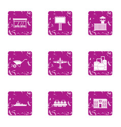 Civic icons set grunge style vector
