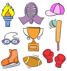 Collection stock sport equipment doodle vector