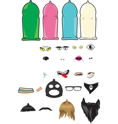 Create your own Condoms Character Kit vector image
