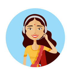 Customer service indian woman working call center vector