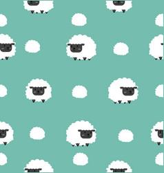 cute black little sheep cartoon seamless pattern vector image