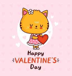 cute cat in dress with heart happy valentines day vector image