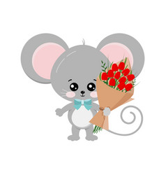 Cute mouse with bouquet red tulips in paw vector