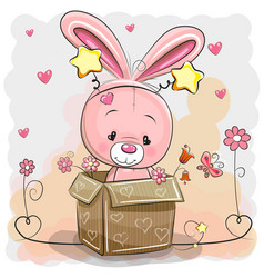 Cute rabbit in a box vector