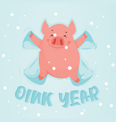 Cute winter pig make snow angel happy new year of vector