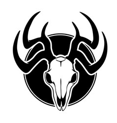 deer skull with black horns vector image
