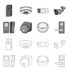 Design of cctv and camera symbol set of vector