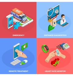 Digital health isometric concept vector