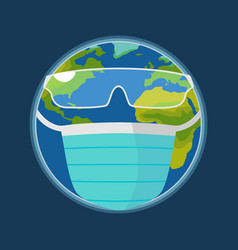 Earth planet dressed medical face mask and glasses vector