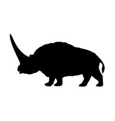 elasmotherium rhinoceros silhouette extinct mammal vector image
