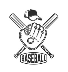 Emblem with crossed baseball bat and baseball vector