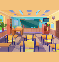 Empty flat cartoon school class room vector